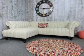 (2795) CANYON Chesterfield rohová luxusná pohovka krémová