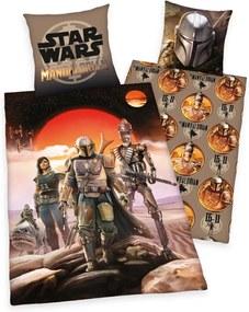 Herding Detské bavlnené obliečky Star Wars Mandalorian, 135 x 200 cm, 80 x 80 cm