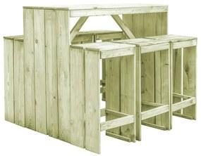 vidaXL 7-dielna vonkajšia jedálenská súprava FSC impregnované borovicové drevo