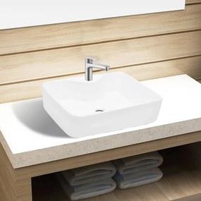 Biele štvorcové keramické umývadlo do kúpeľne s otvorom na batériu