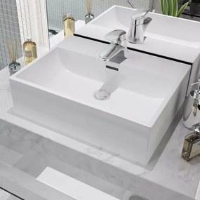 vidaXL Keramické umývadlo s otvorom na batériu, biele, 51,5x38,5x15 cm