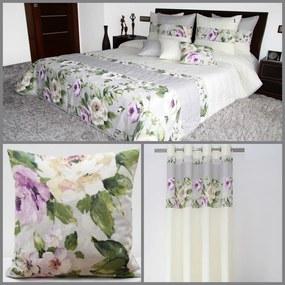 DomTextilu Krémový elegantný dekoračný set s motívom ruží 1 prehoz, 2 obliečky na vankúše a 1 záves Béžová 7182 Béžová