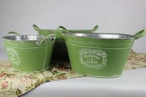 Zelené oválne plechové vintage kvetináče 3-set