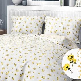 Goldea bavlnené posteľné obliečky - vzor 951 žlté kvety a kvítí na bielom 140 x 200 a 70 x 90 cm