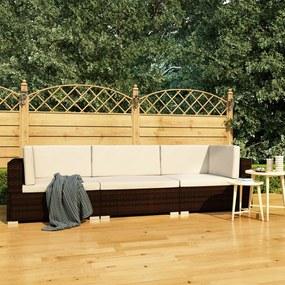 vidaXL 3-dielna záhradná sedacia súprava s podložkami hnedá polyratanová