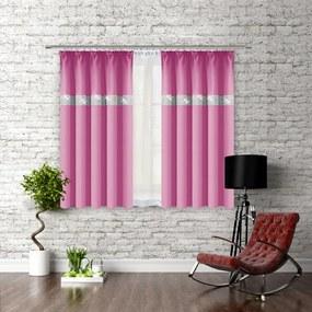 Hotový záves na riasiacej páske so zirkónmi 140x160 cm ružový