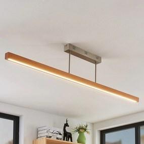 LED drevená závesná lampa Tamlin, buk, 140 cm