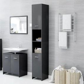 vidaXL Skrinka do kúpeľne sivá 30x30x183,5 cm drevotrieska