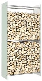 vidaXL Stojan na krbové drevo, biely 80x35x160 cm, sklo