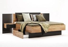 Manželská posteľ LUNA + rošt + matrac BOHEMIA + doska s nočnými stolíkmi, 180x200, dub Kraft/sivá