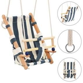 vidaXL Detská drevená hojdačka s bezpečnostným pásom bavlna modrá