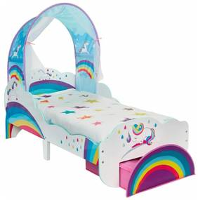 Worlds Apart Detská posteľ so zásuvkou 142x77x128 cm jednorožec