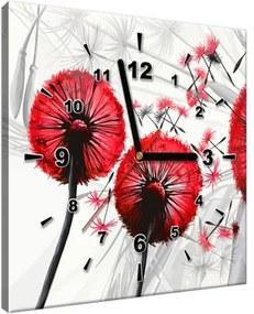 Obraz s hodinami Krásne červené púpavy 30x30cm ZP4025A_1AI