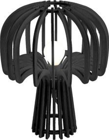 LEITMOTIV Drevená čierna stolná lampa Globular Mushroom