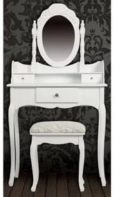 vidaXL Toaletný stolík so zrkadlom a stoličkou, biely