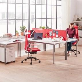 Kancelársky pracovný stôl Adeptus, 1800x800 mm, biely laminát/šedá