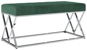 vidaXL Lavica 97 cm, zelená, zamatová látka a nehrdzavejúca oceľ