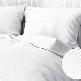 Goldea damaškové posteľné obliečky - vzor 815 drobné biele prúžky 140 x 200 a 70 x 90 cm