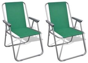 vidaXL Skladacie kempingové stoličky, zelené 2 ks