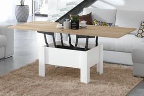 OSLO sonoma dub / biela, rozkladacia, zdvíhací konferenčný stôl, stolík