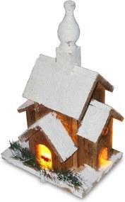 Zasnežený kostolík WOODY s led osvetlením