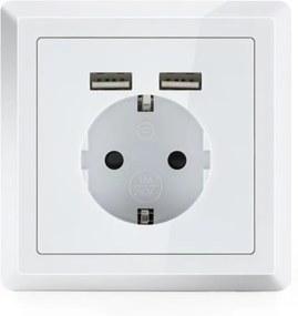 OneConcept WS-2USB, elektrická zásuvka s ochranným kontaktom, 2 x USB port, pod omietku, nástenná montáž