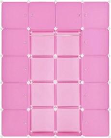 Šatníková skriňa s 20 variabilnými boxmi v ružovej farbe