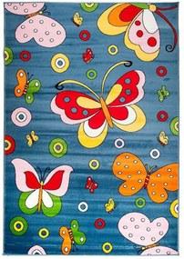 Detský kusový koberec motýliky modrý, Velikosti 300x400cm
