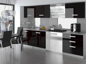 Moderná čierna kuchynská linka Naomi vysoký lesk Úchytka R