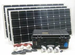 SOLAR Solárny monokryštalický systém SO212 300W 230V,12V s USB výstupom a LED osvetlením