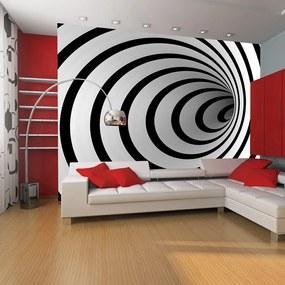 Fototapeta Bimago - Black and white 3D tunnel + lepidlo zadarmo 450x270  cm