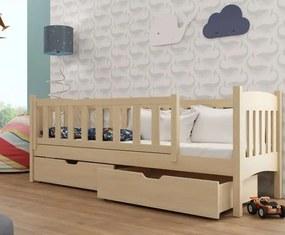 MAXMAX Detská posteľ z masívu borovice Gandalf so zásuvkami - 200x90 cm - PRÍRODNÁ BOROVICA