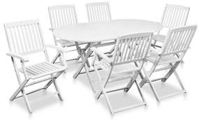 7-dielna sada vonkajšieho jedálenského nábytku z agátu, biela