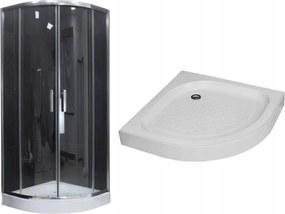 MAXMAX Sprchovací kút s vaničkou MAXMAX MEXEN RIO transparent - štvrťkruh 80x80 cm