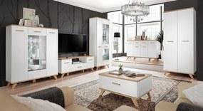 FURNIVAL Legg obývacia izba biela / dub monument