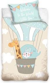 Tiptrade Detské bavlnené obliečky do postieľky Zvieratká v balóne, 100 x 135 cm, 40 x 60 cm