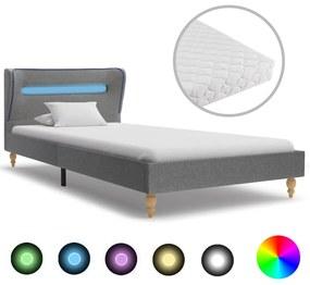 vidaXL Posteľ s LED a matracom, svetlosivá, látka 90x200 cm