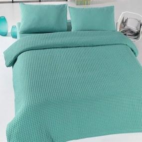 Zelený ľahký bavlnený pléd na posteľ Green Pique, 200 x 230 cm