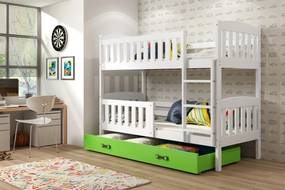 Poschodová posteľ KUBO - 200x90cm - Biela - Zelená