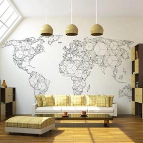 Fototapeta - Mapa sveta - čiernobiela II 200x154 + zadarmo lepidlo
