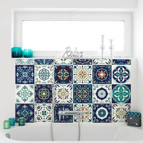 Sada 30 nástenných samolepiek Ambiance Tiles Azulejos Forli, 10 × 10 cm