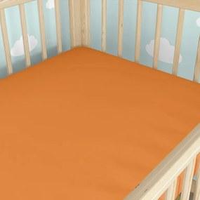 Goldea bavlnená plachta do detské postieľky - oranžová 60 x 120 cm