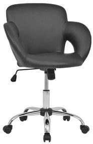 vidaXL Otočná barová stolička, umelá koža, čierna