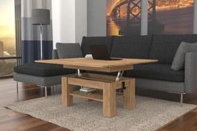 BRAVO s policou, dub craft zlatý, rozkladacia, zdvíhací konferenčný stôl, stolík s poličkou