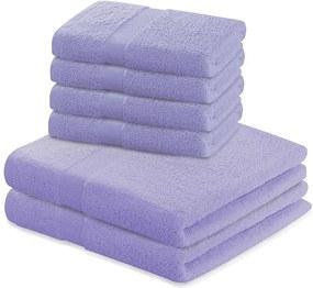 Set 2 osušek a 4 ručníků DecoKing Ginna fialové
