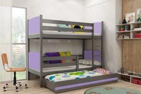 BMS Group Poschodová posteľ s prístelkou TAMI - s úložným priestorom - pre troch - GRAFIT