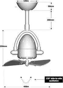 "MATTHEWS DIANE DI-2 16"" matný nikel/drevo Stropný ventilátor"