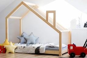 MAXMAX Detská posteľ z masívu DOMČEK s komínom 200x140 cm