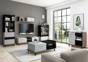 MEBLOCROSS Box obývacia izba craft tabaco / biela / čierna