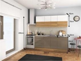 TEMPO KONDELA Sergio 200 kuchyňa biely lesk / svetlý orech / cobalt sivý lesk